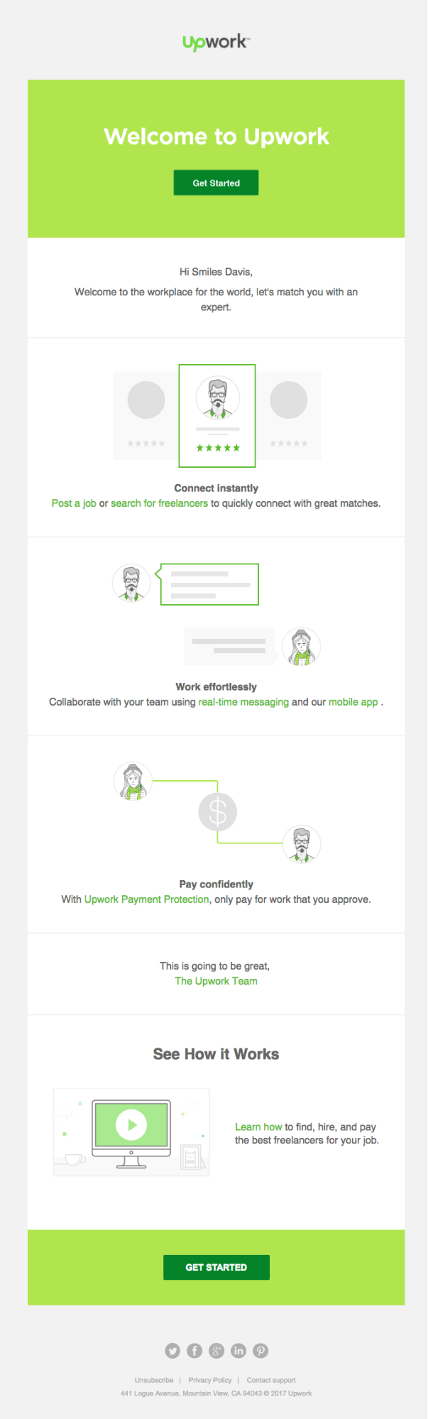 upwork email template