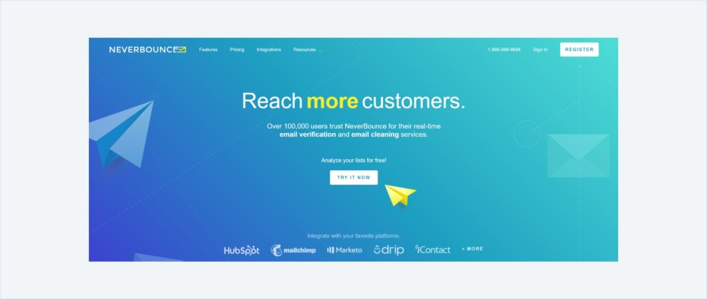 neverbounce landing page