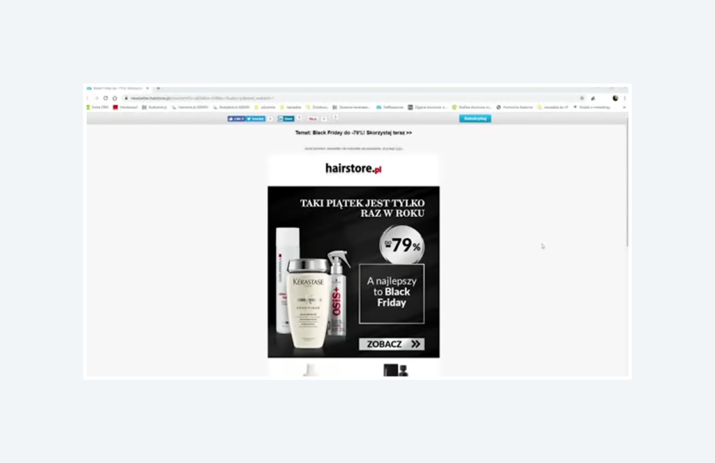 example of Black Friday newsletter from hairstore.pl