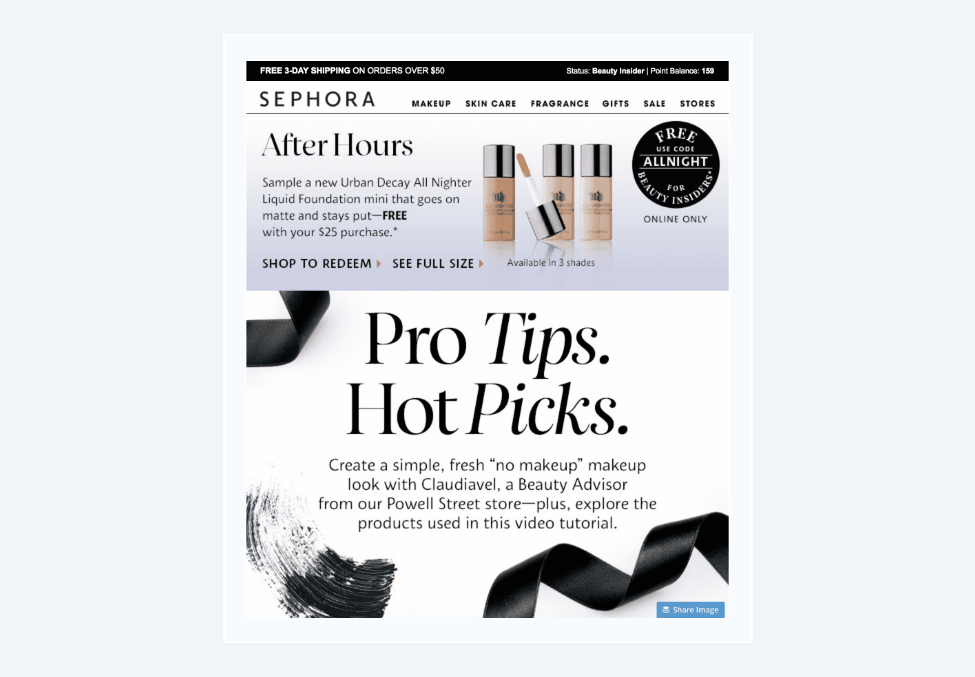 Educational email example: Sephora
