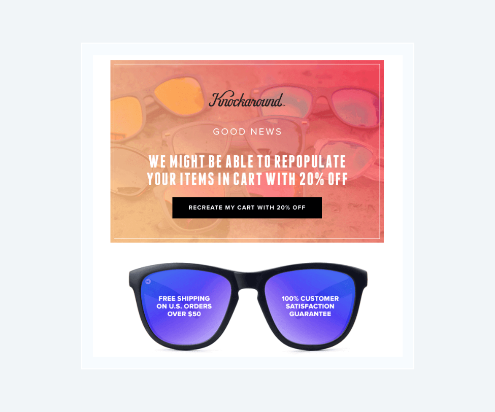 Example from Knockaround's newsletter marketing campaign