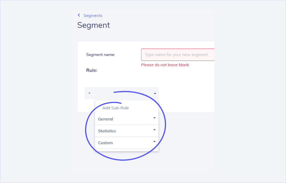 All segment options - email personalization